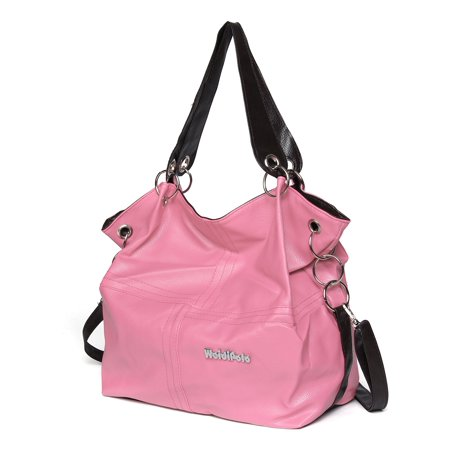 New Handbag Messenger Crossbody Bag Satchel PU Leather Travel Large For Women Lady ,Light Pink color