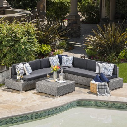 Noble House Cascada Outdoor 7 Seater Wicker V Shaped Sectional Sofa with Cushions
