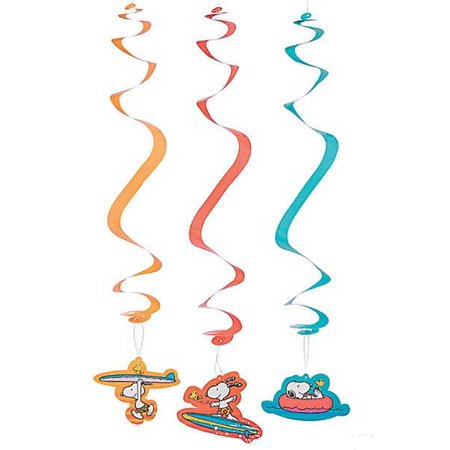 Snoopy Summer (Peanuts Worldwide Summertime Surfing Snoopy Character Hanging Swirl Decorations, Set of)