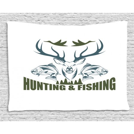 Hunting Decor Tapestry, Artistic Emblem Moose Head Horns Trout Salmon Sea Fishes, Wall Hanging for Bedroom Living Room Dorm Decor, 60W X 40L Inches, Olive Green Slate Blue White, by Ambesonne Salmon Fish Wall