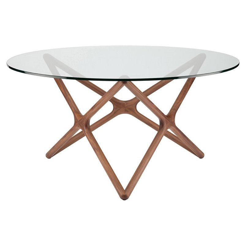 """Maklaine 59"""" Round Glass Top Dining Table in Walnut"""