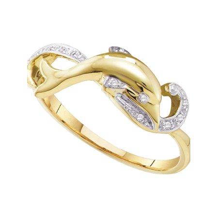 10kt Yellow Gold Womens Round Diamond Slender Dolphin Fish Animal Ring 1/20 Cttw - image 1 de 1