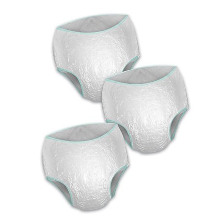 Collections Etc Moisture Proof Reusable Vinyl Underpants - Set Of 3, White, X-Large, Machine