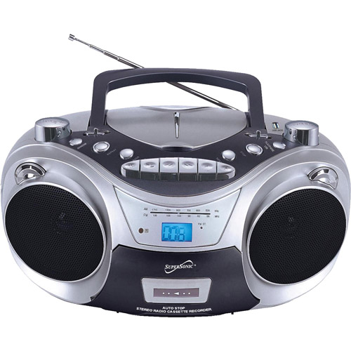 Supersonic Portable MP3/CD Player with Cassette Recorder, AM/FM Radio and USB Port