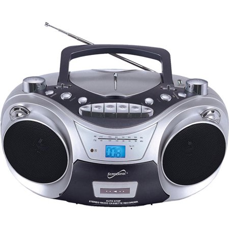 Supersonic Portable MP3 CD Player with Cassette Recorder, AM FM Radio and USB Port by