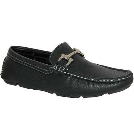 KRAZY SHOE ARTISTS Black Panther Mens Loafers | Silver Ornament Décor
