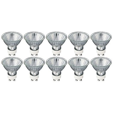 GU10 Halogen Light Bulbs, 35 Watt, 120 Volt, (10 Pack) Protected by UV Glass Cover and heat absorbing coating for safety, Perfect for Recessed, Track, Cabinet and Outdoor lighting. Set of 10 bulbs.