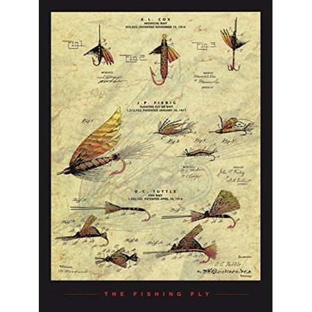 The Fishing Fly 18x24 Art Print Poster Fishing Fly Patent Design Drawing Artificial Floating Fly or Fishing Bait Mechanical Design and Dimension