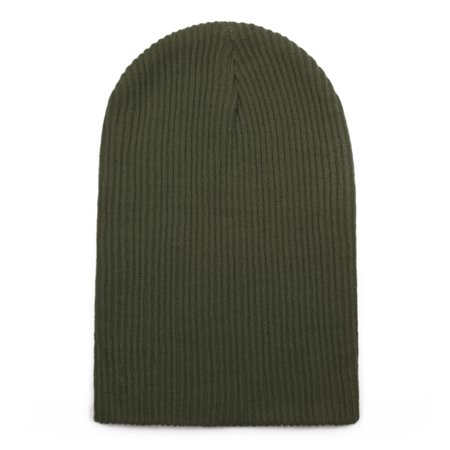 Opromo Winter Headwear Soft Stretchy Daily Beanie Hat Knit Cap for Men and Women-Army Green