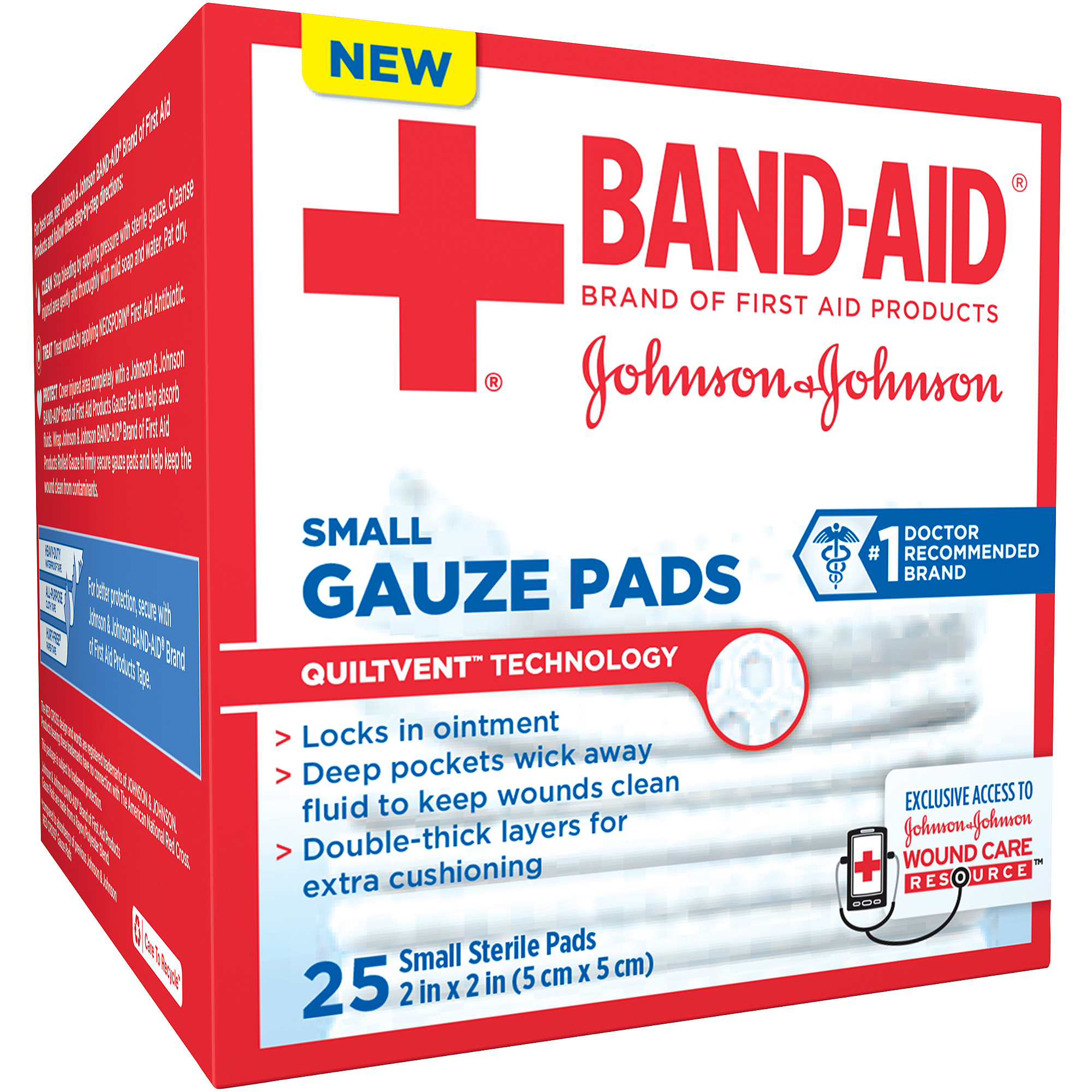 Band-Aid Brand Small Gauze Pads, 2 Inches by 2 Inches, 25 Count