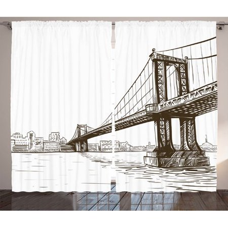 Ivy Bronx Rowen New York Digital Drawn Brooklyn Bridge Unusual Graffiti Style Old Urban Cityscape Print Graphic Print   Text Semi Sheer Rod Pocket Curtain Panels  Set Of 2