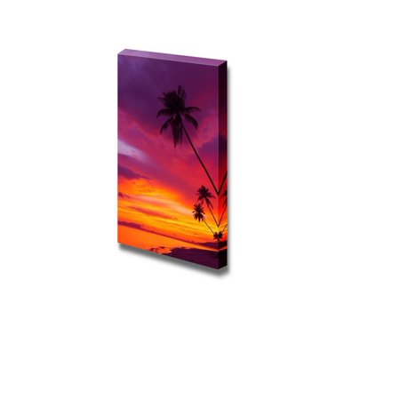 Tree Silhouette Outdoor Print (Canvas Prints Wall Art - Sunset over the Ocean with Tropical Palm Trees Silhouette Vertical Panorama - 32