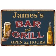 UPC 786359016434 product image for James's Green Bar and Grill Personalized Metal Sign 8x12 Decor 108120044159 | upcitemdb.com
