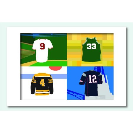 Boston Jerseys Matted Print, 11 x 14 (Alphabet - Party City In Jersey City