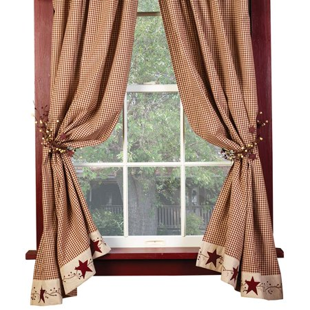 Burgundy Check Stars and Berries Country Curtain Panels, 63