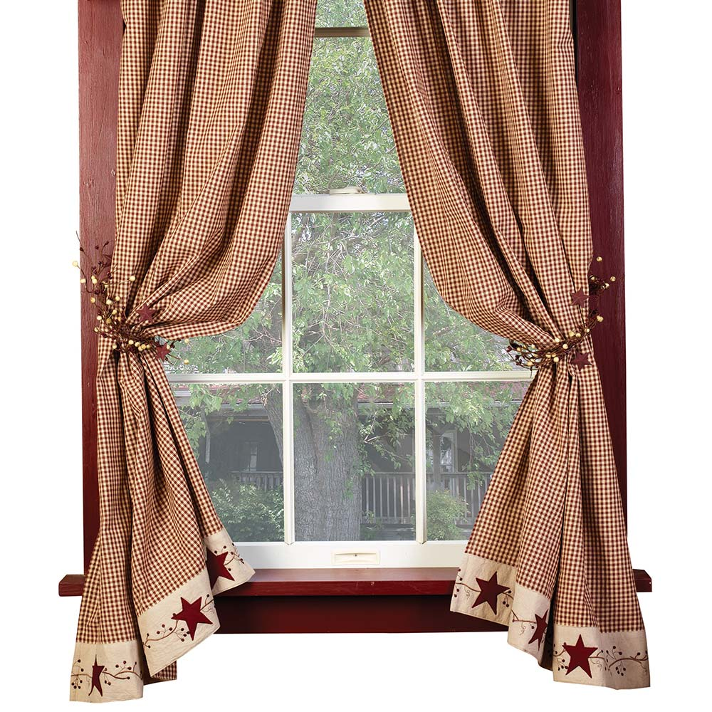 "Burgundy Check Stars and Berries Country Curtain Panels, 63"" 84"" Lengths"