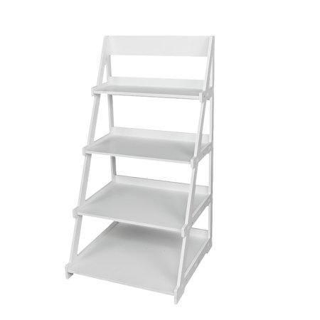 4 Tier Ladder Bookcase Book Storage Shelves Magazines Display Standing Shelving Living Room Furniture