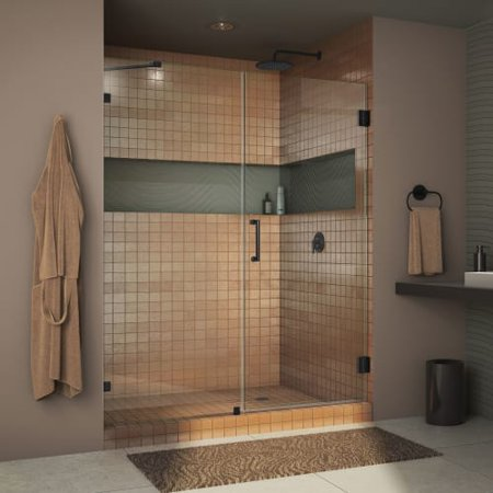 DreamLine Unidoor Lux 46 in. W x 72 in. H Fully Frameless Hinged Shower Door with Support Arm in Satin Black