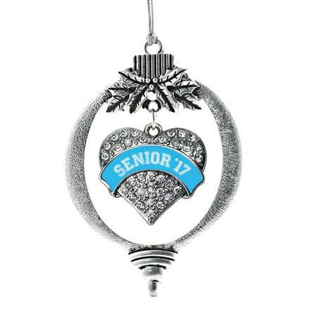Blue Senior 2017 Pave Heart Holiday Ornament