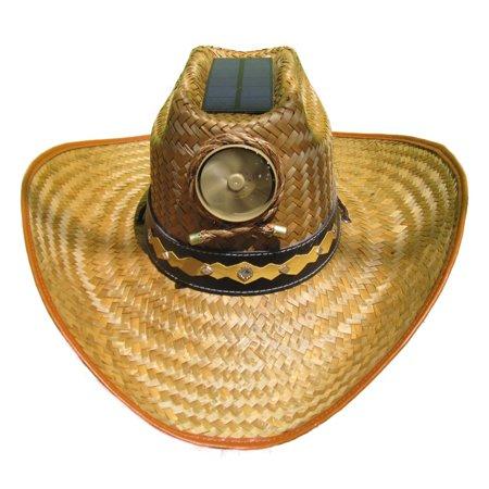 Kool Breeze Solar Cooling Straw Hat - Cowboy w. Band (XL) (Straw Cowboy Hat)