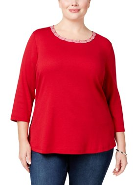 e0526ddb924 Product Image Karen Scott Womens Plus Cotton 3 4 Sleeves Pullover Top