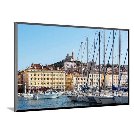 Marseille, Provence-Alpes-Cote d'Azur, France. View across Vieux-Port, the Old Port, to the 19th... Wood Mounted Print Wall Art (Old Port Wood)