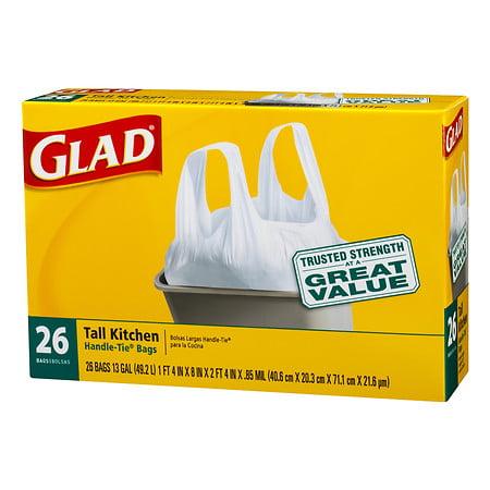 Glad Tall Kitchen Handle-Tie Trash Bags 13 Gallon White 2...