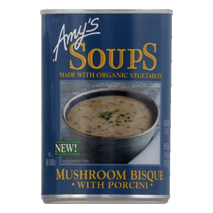 Amys Mushroom Bisque with Porcini Ready to Serve Soups, 14 Oz (Pack of 12)