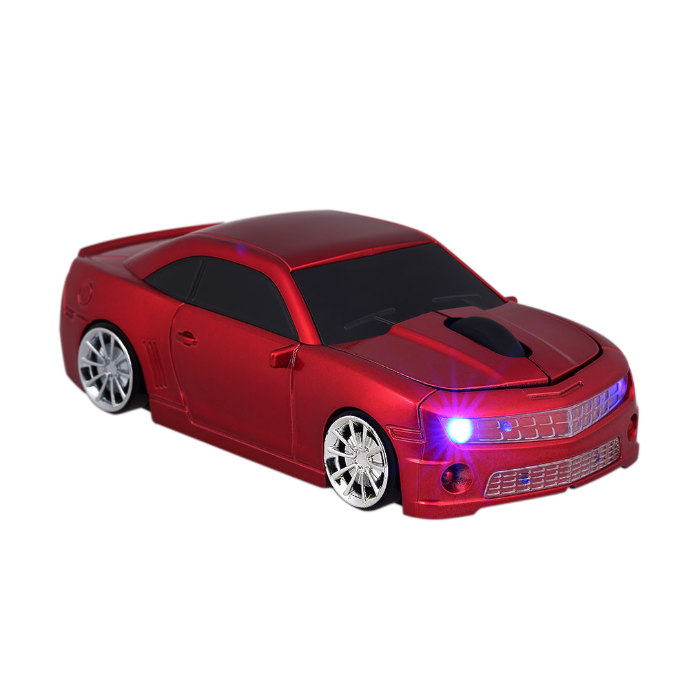 2.4G Wireless Mouse Car USB Computer Mice Car Shape 1000 DPI with LED Light Receiver for PC Laptop Red