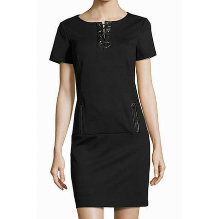 Womens Lace Up Leather Trim Sheath Dress 8