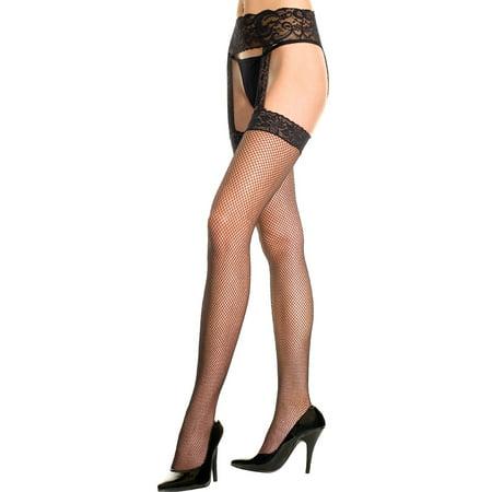 Fishnet Thigh High Stockings With Garter Belt, Fishnet Stockings With Lace Garter Belt (Red Fishnet Stocking)