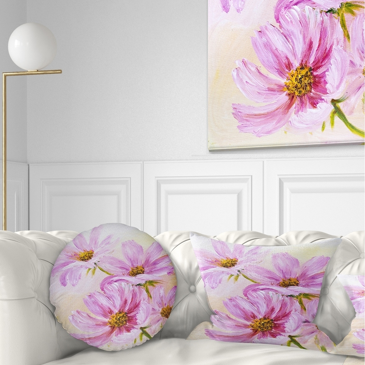 Design Art Designart Blooming Pink Cosmos Flowers Floral Throw Pillow Walmart Com Walmart Com