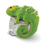 Sterling Silver and Green Enameled Lizard Bead Charm