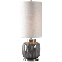 Table Lamps 1 Light With Aged Gray Ceramic and Antiqued Brass Ceramic Metal Fabric Tall Round Hardback Drum 32 inch 150 Watts