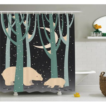 Kids Boys Shower Curtain, Mother Polar Bear and Cub in Forest Winter Season Snowy Weather, Fabric Bathroom Set with Hooks, 69W X 84L Inches Extra Long, Dark Taupe Pale Green Beige, by Ambesonne - Boys In Shower