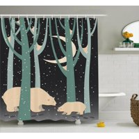 Kids Boys Shower Curtain, Mother Polar Bear and Cub in Forest Winter Season Snowy Weather, Fabric Bathroom Set with Hooks, 69W X 84L Inches Extra Long, Dark Taupe Pale Green Beige, by Ambesonne