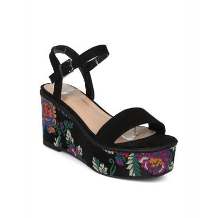 New Women Faux Suede Floral Brocade Platform Wedge Heel - 17936 by Wild - New Womens Platform