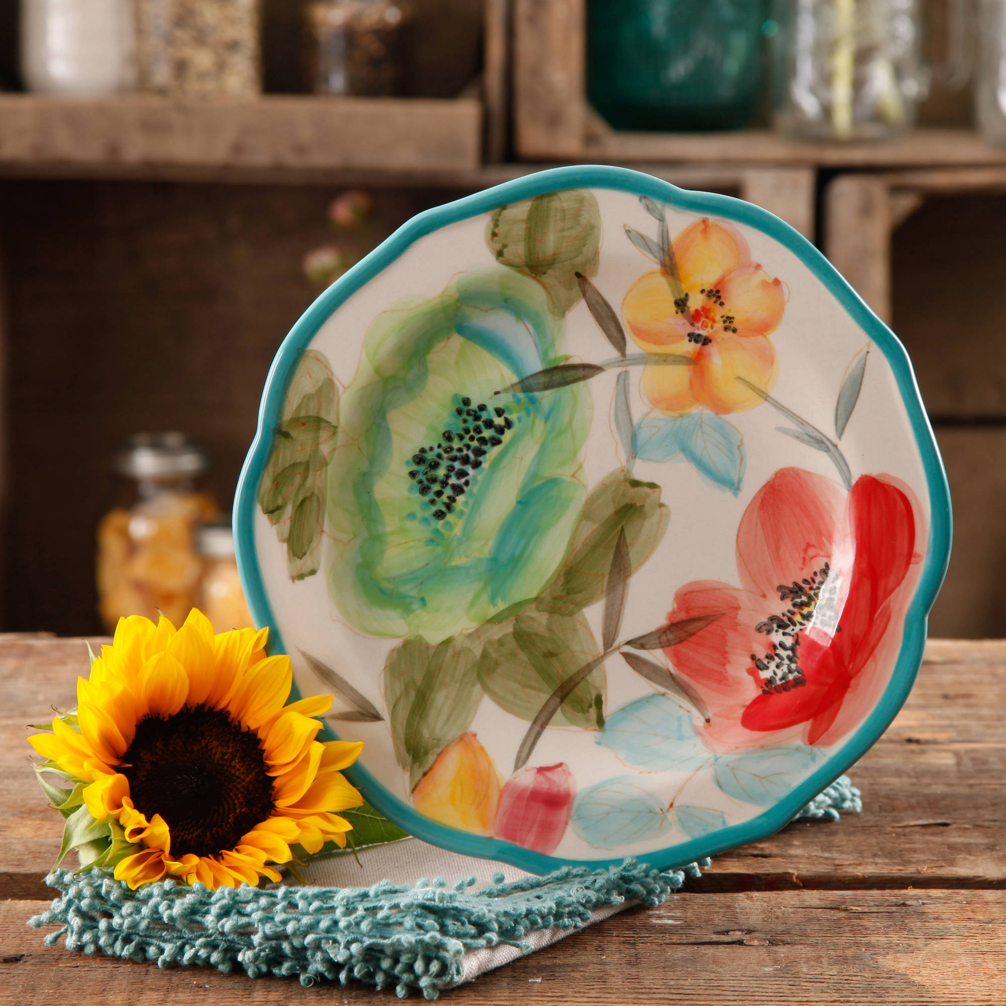 "The Pioneer Woman Vintage Bloom 8.5"" Decorated Salad Plate, Set of 4"