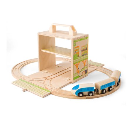 Hearthsong Bamboo Train Set Wooden Train Set For Children Walmart Com