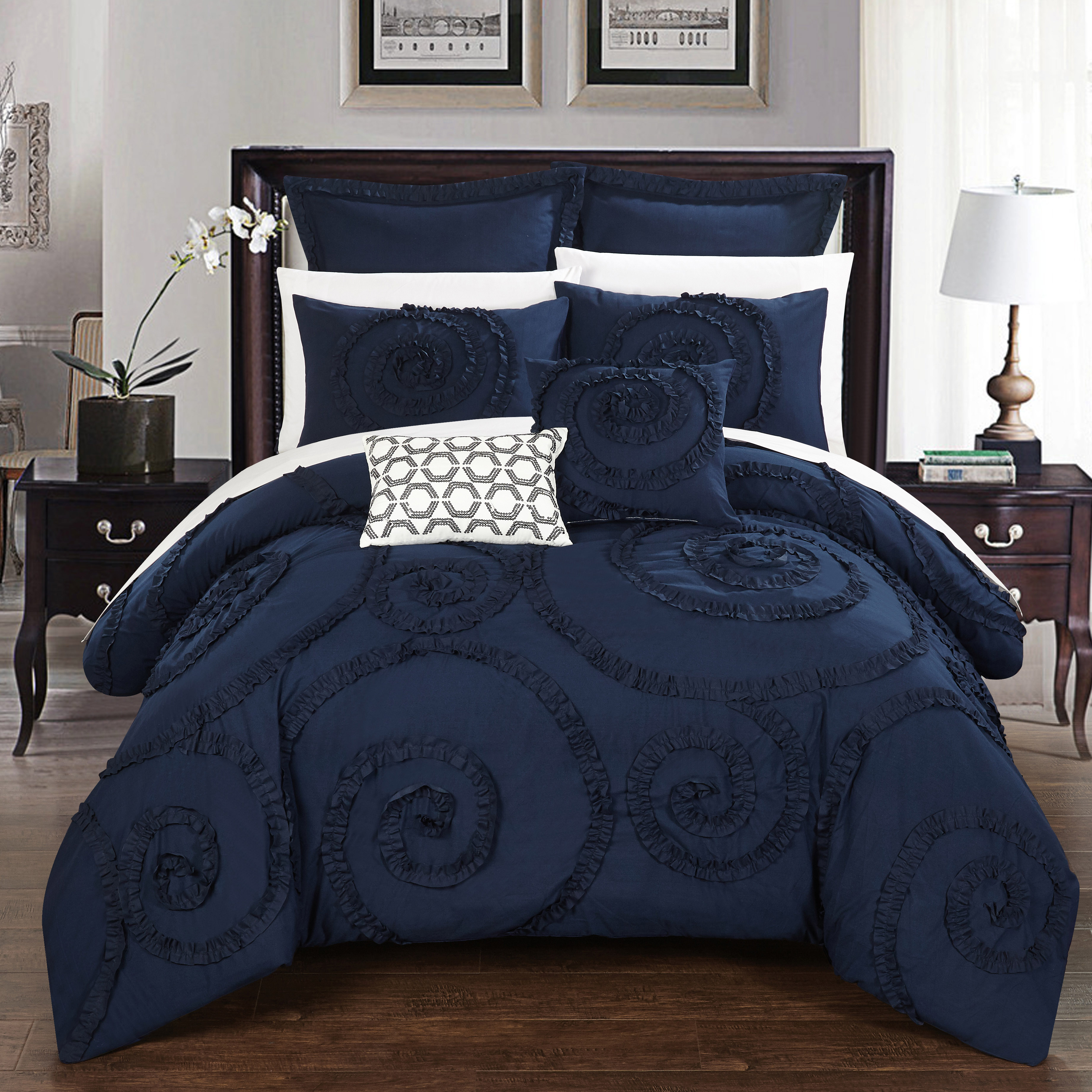 Chic Home 7-Piece Rosamond Floral Ruffled Etched Embroidery King Comforter Set Navy
