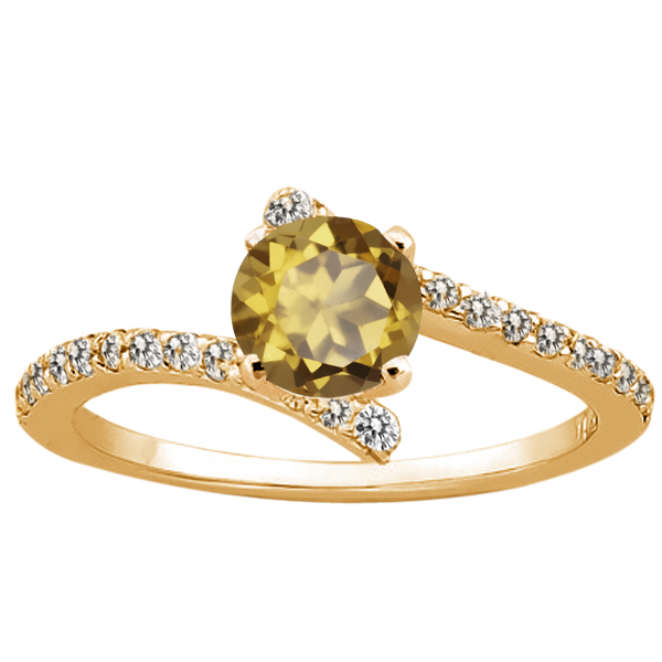 1.14 Ct Round Whiskey Quartz 925 Yellow Gold Plated Silver Ring