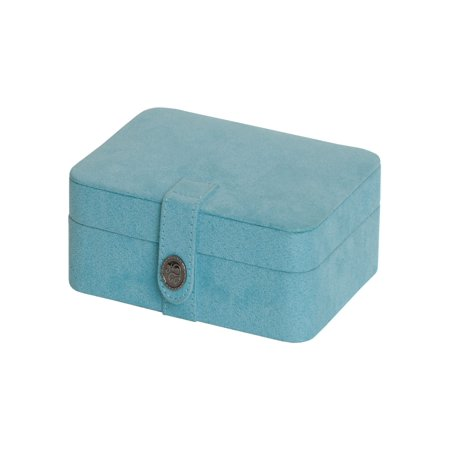 Fabric Jewelry - Mele & Co. Giana Blue Plush Fabric Jewelry Box with Lift Out Tray - 7.38W x 2.38H in.
