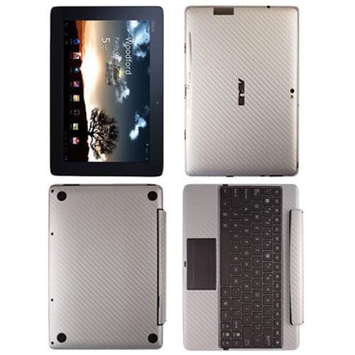 Skinomi Carbon Fiber Silver Skin+SP for Asus EEE Pad Tran...