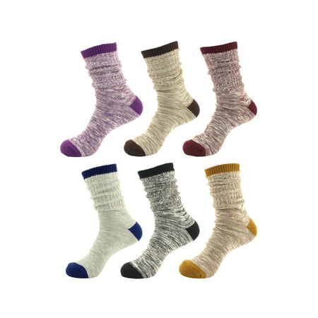 Women's Vintage Style Slouch Boot Cotton Fall Winter Crew Socks - 6 Pairs (Asst A)](80s Slouch Socks)