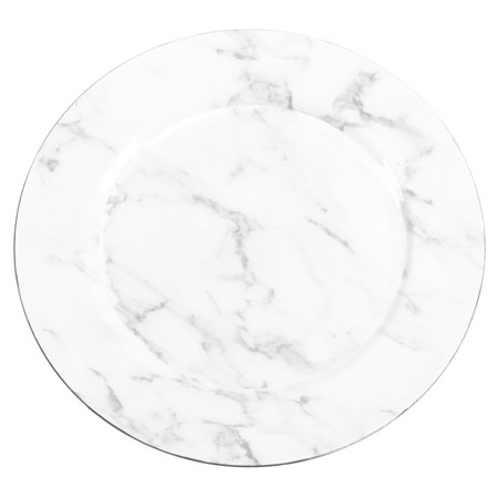 Marble Acrylic Award (DIY Wedding Koyal Wholesale Faux Marble Charger Plates, 4-Pack White Gray Marble Luxury Plates for Upscale Parties, Weddings, Dinner)