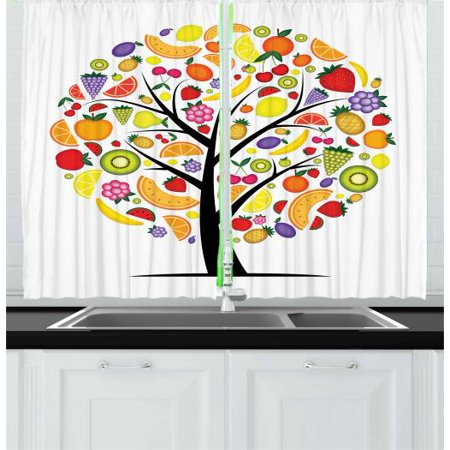 Fruit Curtains 2 Panels Set, Colorful Fruit Tree Silhouette with a Variety of Vegetarian Options Banana Orange, Window Drapes for Living Room Bedroom, 55W X 39L Inches, Multicolor, by (Cooling Options For Room With No Windows)