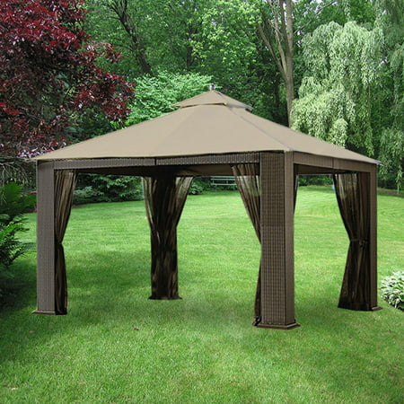 Image of Garden Winds Replacement Canopy Top and Side Mosquito Netting Set for Garden Oasis Wicker Gazebo - Riplock 350