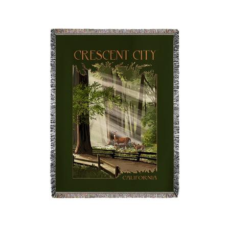 Crescent City, California - Deer & Fawns - Lantern Press Artwork (60x80 Woven Chenille Yarn - Deer Woven Shirt