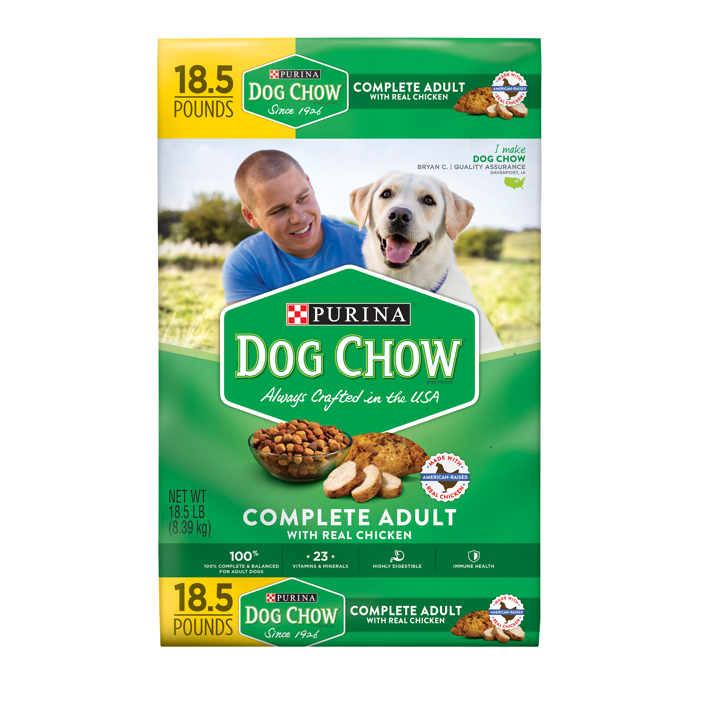 Purina Dog Chow Dry Dog Food; Complete Adult With Real Chicken - 18.5 lb. Bag