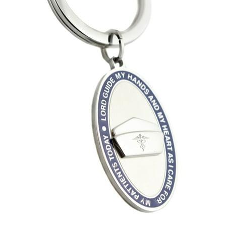 Nurses Prayer Engravable Keychain Blue Enamel - Engravable Keychains